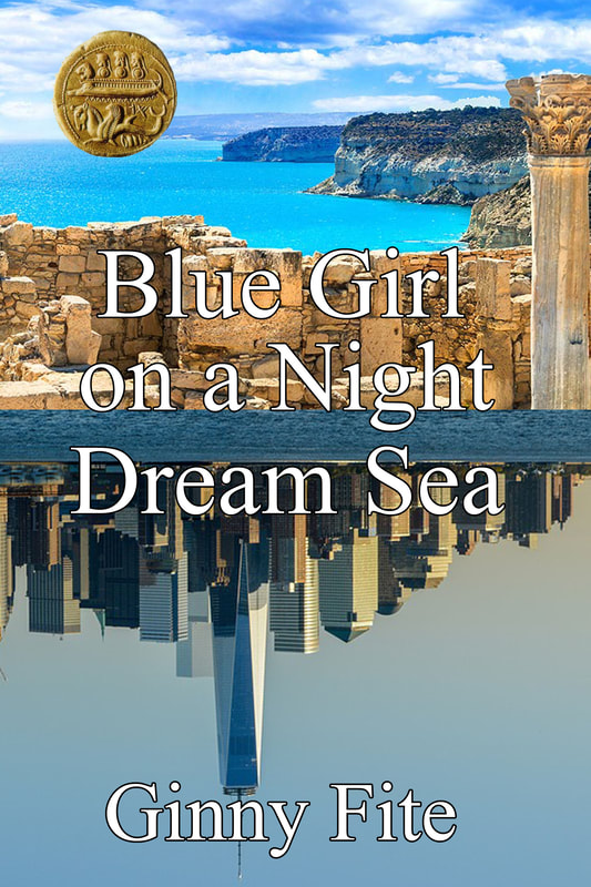 Blue Girl On A Night Dream Sea by Ginny Fite